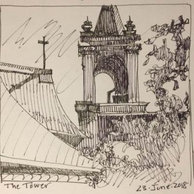 "Day 257 ""The Tower"" pen&ink 5 x 6"