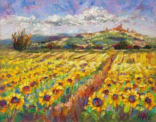 """Sun Shines on Tuscany"" - New Sunflower Palette Knife Painting by Niki Gulley"