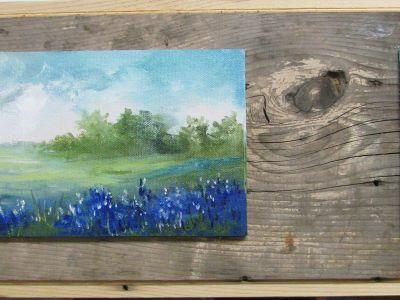 Blue Bonnets on Barnyard Board, oil paintings, Barbara Haviland