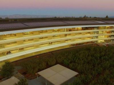 Latest 4K Apple Park drone video drops down inside the spaceship ring at sunset