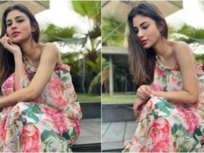 Mouni Roy in Rs 2k one-shoulder printed dress looks like a springtime dream. See pics