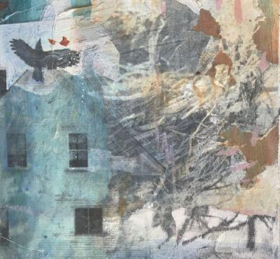 "Mixed Media, Collage, House, Bird Art Painting, 30 Day Challenge ""Release by Intuitive Artist Joan Fullerton"