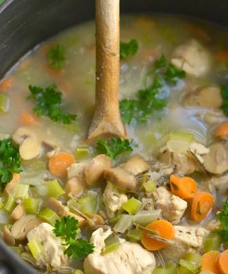 Chicken Wild Rice Soup {GF, Low Cal}