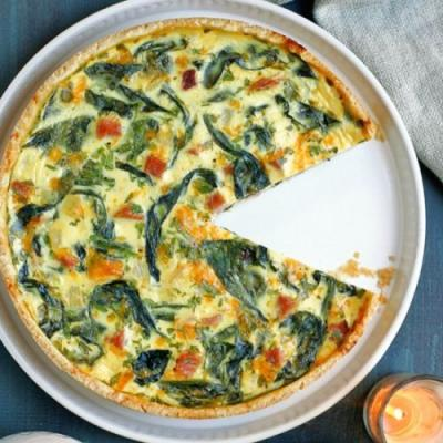 Spinach, Ham and Cheese Quiche