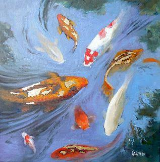 Koi with Gold, Oil Painting on Canvas, 10x10, Fish Pond Painting