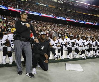Raiders players sit during national anthem after President Trump's comments