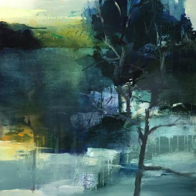 "Abstract Mixed Media Landscape Painting ""Moonlight Yearning"" by Intuitive Artist Joan Fullerton"