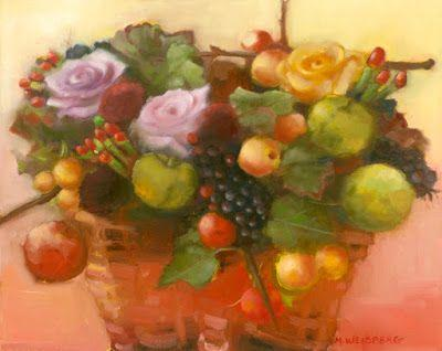 "Still Life Fine Art Oil Painting ""Basket of Fruit and Flowers"" by Illinois Artist Marilyn Weisberg"