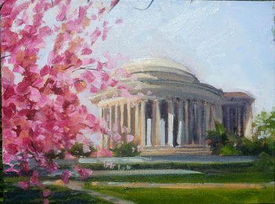 Jefferson Memorial with Blossoms 51515 by Candy Barr