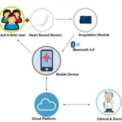 A Novel Cardiac Auscultation Monitoring System Based on Wireless Sensing for Healthcare