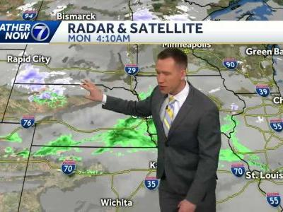 A few AM rain showers Monday, turning colder by midweek