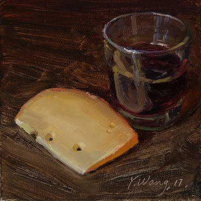 A slice of cheese and red wine, still life daily painting a day small original