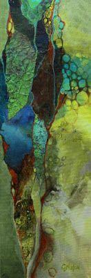 """Mixed media collage painting, """"Primordial Soup"""" 070118, © Carol Nelson Fine Art"""