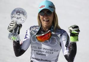 Shiffrin wins giant slalom race to seal World Cup title
