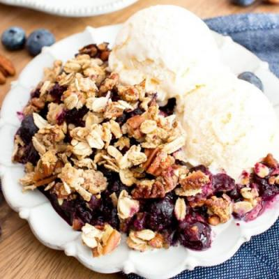 Vegan Gluten Free Blueberry Crisp