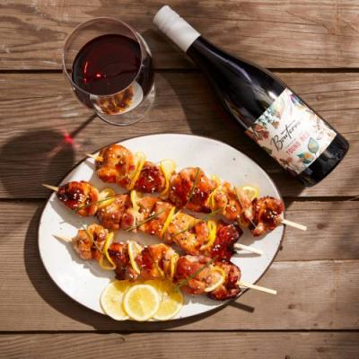 Yakitori Skewers and Red Wine