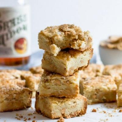 Peanut butter chip bourbon blondies