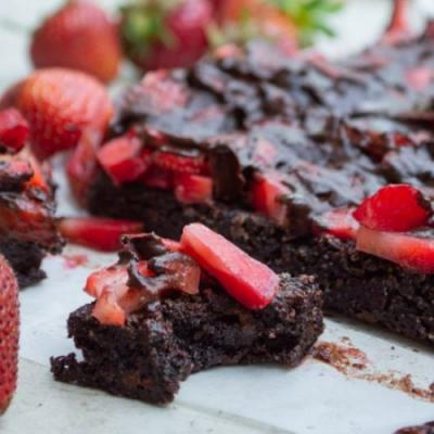 Triple Chocolate Strawberry Brownie