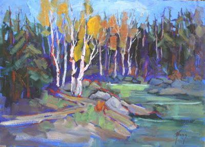 """Contemporary Colorado Landscape Painting, Fine Art Oil Painting """"Upper Lake Trail"""" by Colorado Contemporary Fine Artist Jody Ahrens"""