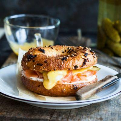 Salmon and Egg Bagel