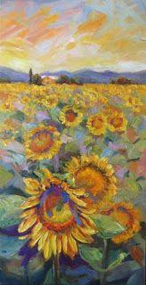 """New """"Sunny Delights"""" Palette Knife Sunflower Painting by Niki Gulley"""