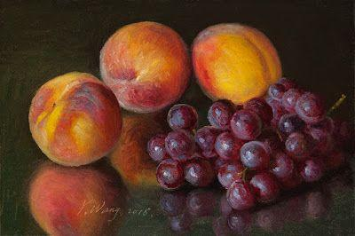 Peach and grapes fruit original oil painting a day still life contemporary realism daily painting