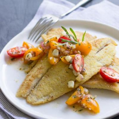 Cornmeal-Crusted Petrale & Tomatoes