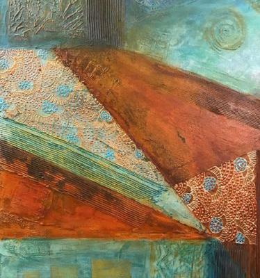 """Contemporary Southwest Art, Abstract Mixed Media Painting, Patinas """"Mountain"""" by Arizona Contemporary Artist Pat Stacy"""