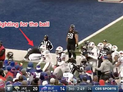 Brawl breaks out between Jags and Bills while 2 players wrestle on the ground for the ball in bizarre and wild scene