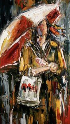 "Palette Knife Figurative Oil Painting,Woman,Umbrella ""Shopping Bag"" by Texas Artist Debra Hurd"