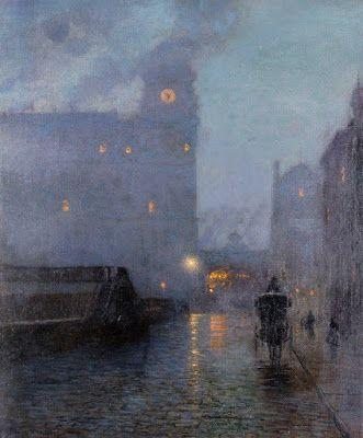 Lovell Birge Harrison, Grand Central and the Biltmore in hazy twilight