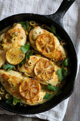 Skillet Lemon Chicken with Olives and Herbs