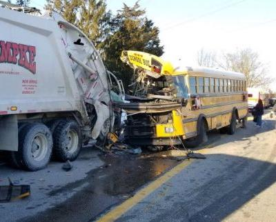 19 students injured when school bus collides with garbage truck in Indiana