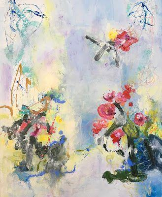 "Contemporary Floral Abstract Fine Art Painting, ""SPRING DREAMS"" by Contemporary Expressionist Pamela Fowler Lordi"