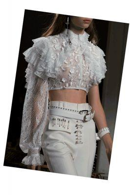 Metal studs and punk-like embellishments contrasted by the