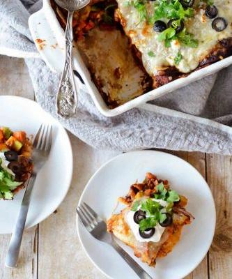 Sweet Potato & Black Bean Tortilla Bake