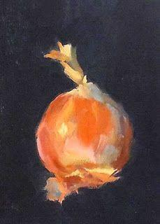 Onion, 5x7 Oil on Board, Still Life Daily Painting