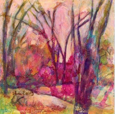 "Colorful Contemporary Landscape Painting, Abstract Landscape, Tree, ""Choose Color"" by Passionate Purposeful Painter Holly Hunter Berry"