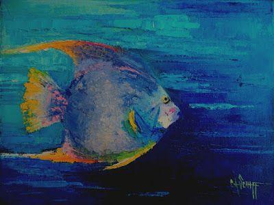 Tropical Fish Painting, Small Oil Painting, Daily Painting, Palette Knife Painting