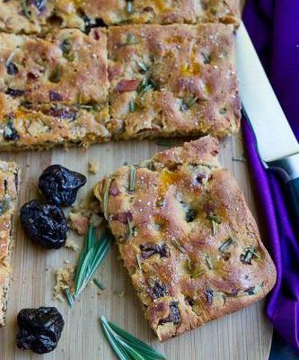 Whole Wheat Focaccia Bread with Prunes & Prosciutto