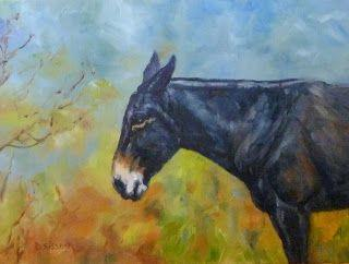 Autumn Mule Oil Painting Farm Animals Portraits Mule Horse Donkey Pet Art
