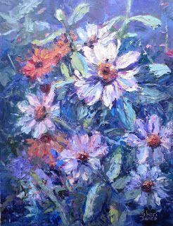 Zinnia Impressions, New Contemporary Painting by Sheri Jones