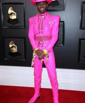 Lil Nas X Kills It in a Pink Versace Cowboy Suit at the 2020 Grammy Awards