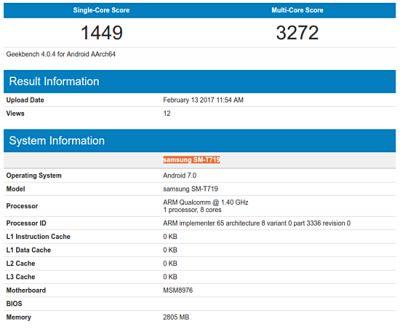 Nougat-Based Galaxy Tab S2 8.0 (2016) Surfaces On Geekbench