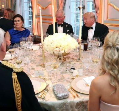 Donald Trump served beef and vanilla ice cream for dinner with Prince Charles and Camilla, a stark contrast to the lavish banquet hosted by the Queen at Buckingham Palace