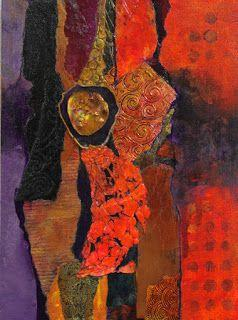 """Mixed Media Abstract Collage Painting, """"Madeline Island Demo 1"""" © Carol Nelson Fine Art"""