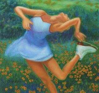 """Contemporary Colorful Figure and Landscape Painting: Female Figure Skating """"Ecstasy"""" by Houston Artist Vivian T-N Ho"""