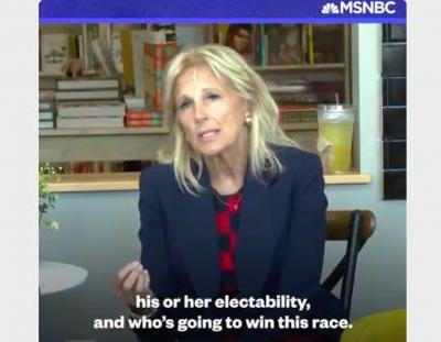 Jill Biden Makes Blunt Electability Argument for Joe: You May Like Another Candidate More But 'Who's Going to Win'?