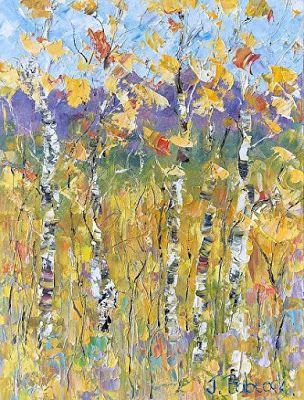 """Palette Knife Impressionist Aspen Tree Landscape Flower Painting """"Rocky Mountain Gold"""" by Colorado Impressionist Judith Babcock"""
