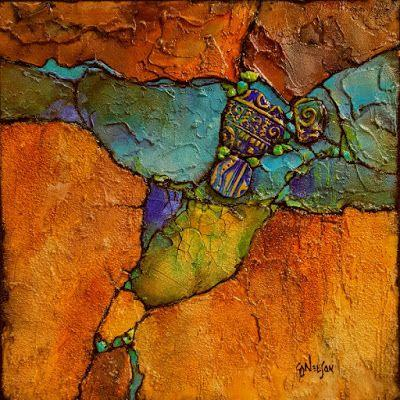 "Mixed media geologic abstract painting, ""Artifacts 2"" © Carol Nelson Fine Art"